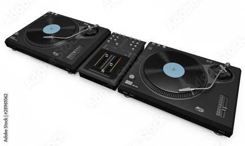 DJ gear: two turntables and a mixer Canvas Print