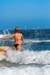 Woman running in the sea
