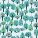 seamless pattern with a winter forest - 28980448