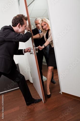 Fotografie, Obraz  Businessman pushing the door