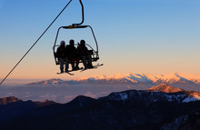 Chair Ski Lift With Skiers Ove...