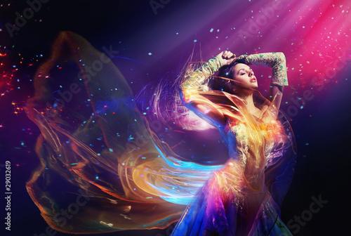Printed kitchen splashbacks Artist KB Beauty woman wearing gorgeous dress