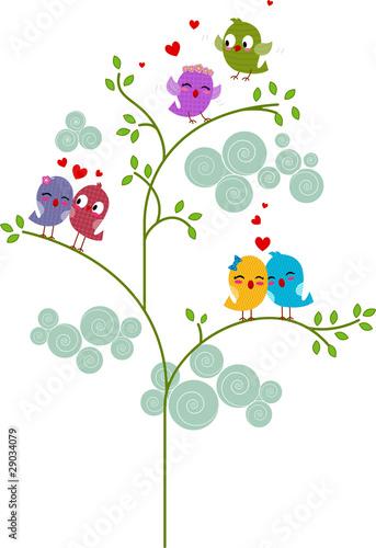 Poster Oiseaux, Abeilles Lovebirds on a Tree