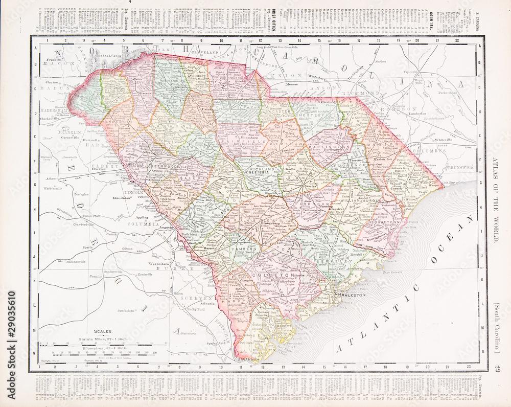 Vintage South Carolina Map.Photo Art Print Antique Vintage Color Map South Carolina Sc