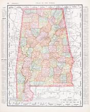 Antique Vintage Color Map Of Alabama, AL, United States, USA