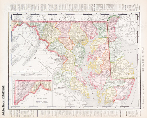 Antique Vintage Color Map of Maryland and Delaware, USA ...