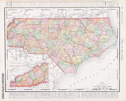 Antique Vintage Color Map of North Carolina NC United States USA ...