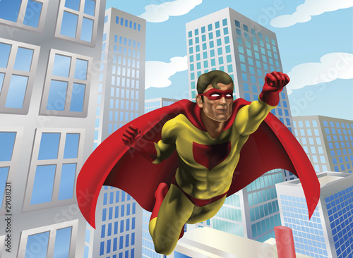 Poster Superheroes Superhero flying through city