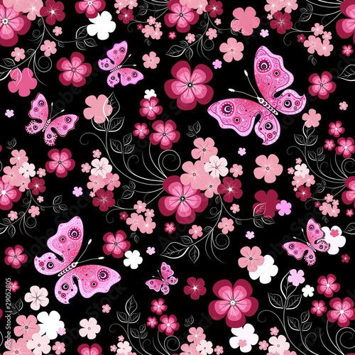 Fototapeten Künstlich Dark seamless floral pattern