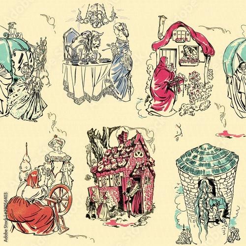 Fotografie, Obraz  Fairy tale toile, a seamless background
