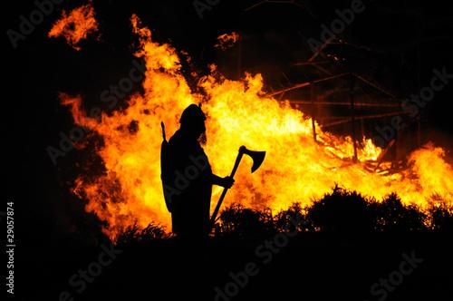 Fotografie, Obraz  Viking and burning building