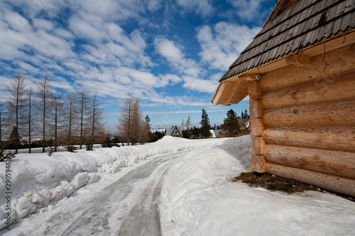 traditional polish hut in zakopane during winter season