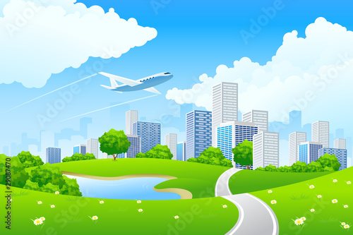 Autocollant pour porte Avion, ballon Green City Landscape