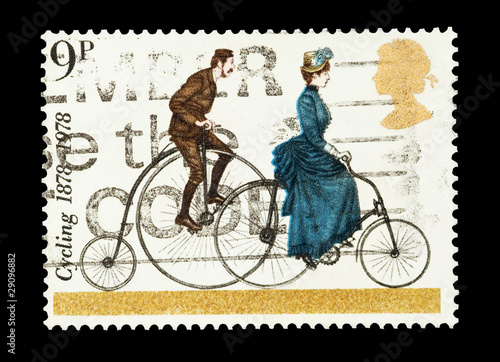 Aluminium Prints Bicycle UK mail stamp celebrating the centenary of cycling