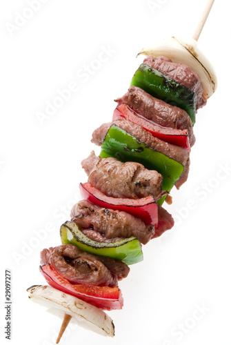 Fotografía  brochette de carne y vegetales