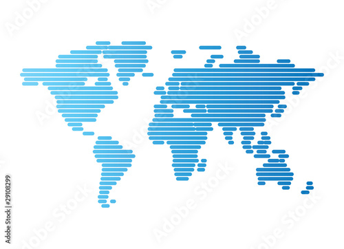 Türaufkleber Weltkarte World map of blue rounded lines