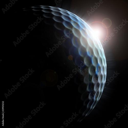 golf planet - golf ball textured planet with sun rising © koya979