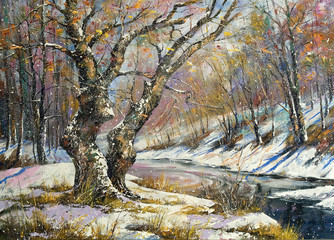 Obraz Winter landscape with wood and the river