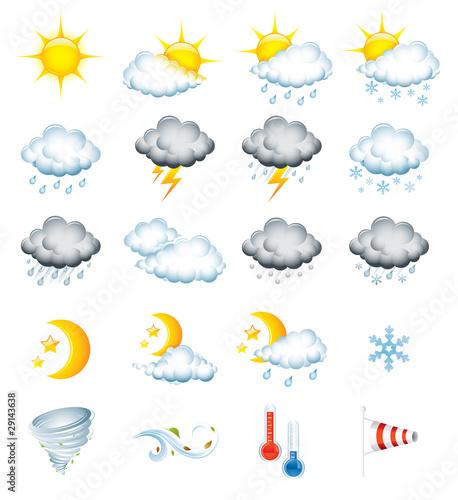 Fototapeta Set of 20 high quality vector weather icons obraz