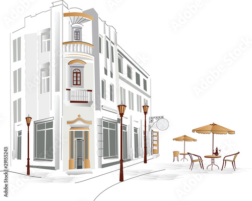 Spoed Foto op Canvas Drawn Street cafe Old part of the city with cafe