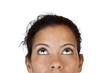 canvas print picture - Ausschnitt des Gesichts einer Frau die neutral nach oben blickt