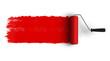 Leinwanddruck Bild - Red roller brush with trail of paint