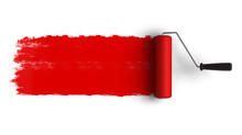 Red Roller Brush With Trail Of Paint