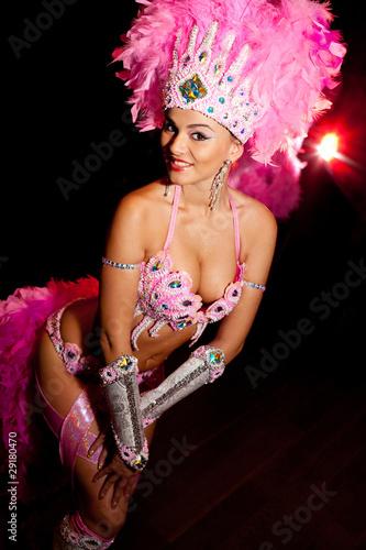 cabaret dancer over dark background Canvas Print