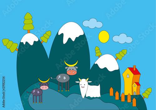 Keuken foto achterwand Lichtblauw Vector illustration. Farm animals.