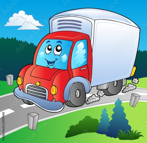 Recess Fitting Cars Cartoon delivery truck on road