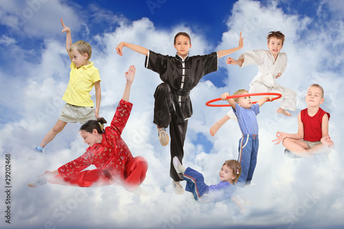 фотографія  sport children on white clouds collage
