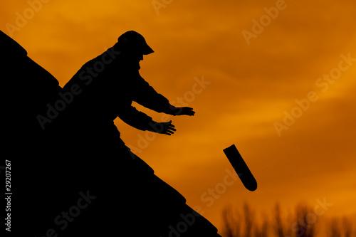 Photo Dachdecker in der Dämmerung