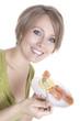 canvas print picture - pregnant woman eats smoked salmon