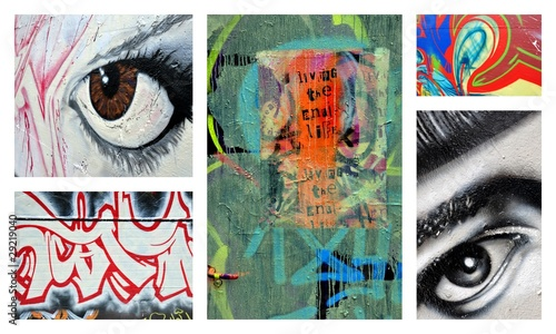 Stickers pour porte Graffiti collage le regard social
