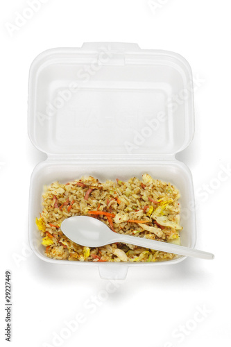 Fried rice in Styrofoam box - Buy this stock photo and explore