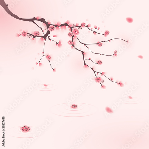 Photo  oriental style painting, cherry blossom in spring