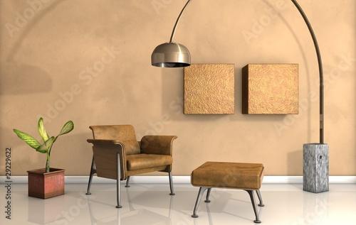 Sedia e lampada Fototapet