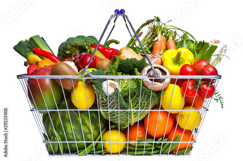 Staande foto Groenten Shopping basket fruit and vegetables isolated on white
