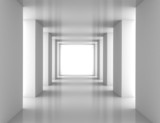 Fototapeta Perspektywa 3d - Tunnel with white wall
