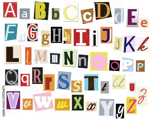 Poster Kranten Colorful alphabet with letters torn from newspapers