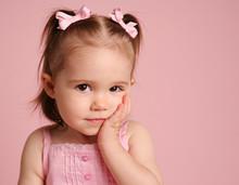 Cute Toddler Girl Posing On Pink