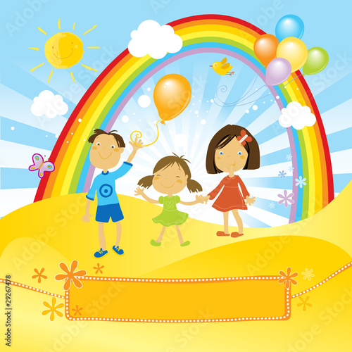 In de dag Regenboog happy children celebrating