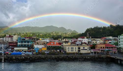 Foto op Plexiglas Caraïben Rainbow over Dominica in the Caribbean