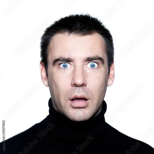 Fotografie, Obraz  man  stun surprised startle portrait