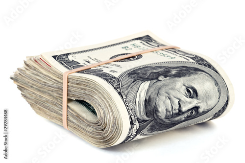 Fototapeta folded hunderd dollar bills obraz