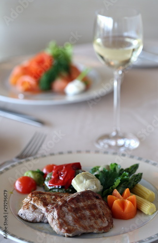 Photo Stands Ready meals Meat dish on dinner table