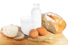 Milk, Eggs, Bread And Wheat Corn