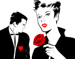 Panel Szklany Popart jeune femme amoureuse rose rouge homme coeur