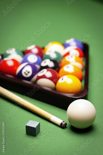 Fotografija Billiard balls, cue on green table!