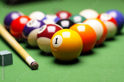 Canvas Billiard balls, cue on green table!